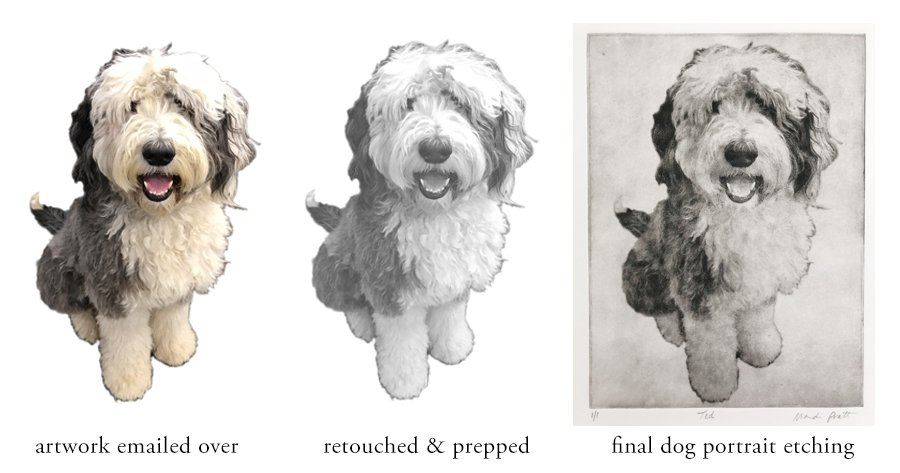 Custom Dog Portrait Etching before and after